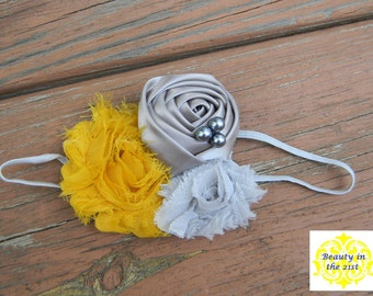 Mustard Yellow and Gray Headband/Clip with Pearl Accents