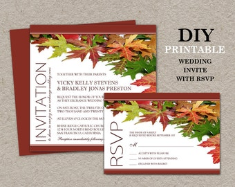 DIY Fall Wedding Invitations With RSVP Cards, Printable Fall Wedding Invitation Sets With Leaves, Fall Leaves Wedding Invites