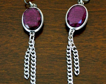 Handmade Purple Stone and Antique Chain Earrings made from Recycled Materials