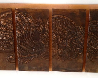 Copper Relief Wall Art - 4 Panel Abstract design - Brown Backer Board