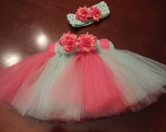 Adorable Tutu Skirt with Matching Headband In Mint Green and Coral
