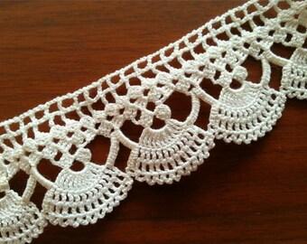Lace Edge Crocheted Cotton Trim-crochet lace trim,home decor,crochet ...