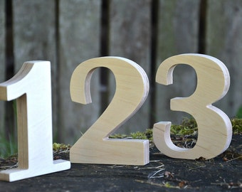 1-6 5 inches Wooden Numbers, Free Standing Wedding Table Numbers for Decor, Stand Alone Cafe or Restaurant Table Numbers, Photo Props