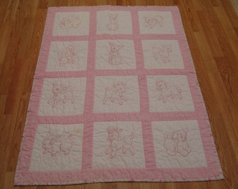 Sale!!! Hand Embroidered and hand quilted baby quilt.  Pink and white.  Baby animals