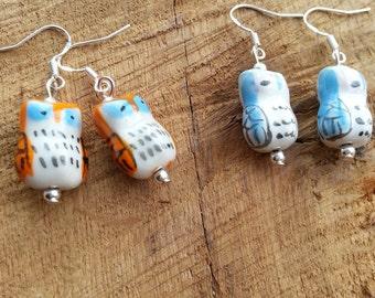Handmade kawaii porcelain owl earrings various colours
