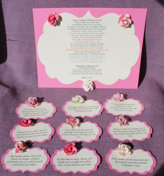 Wedding Candle Gift With Poem : Wedding Shower Candle Poem pink roseTag Set. Bridal candle