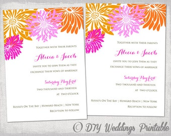 "Tropical Wedding invitation templates Pink & Orange DIY printable summer wedding invitations ""Flower Burst"" Gerber Daisy YOU EDIT download"