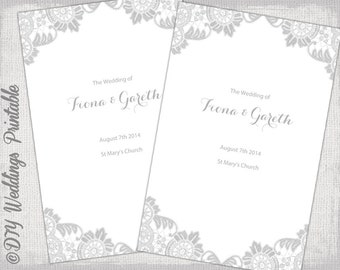 "Catholic Wedding program template Silver Gray ""Antique Lace"" DIY printable order of ceremony booklet Lace program templates - Word download"