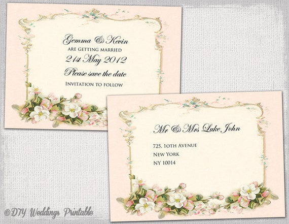 Save the date template diy pink parisian vintage for Vintage save the date templates free