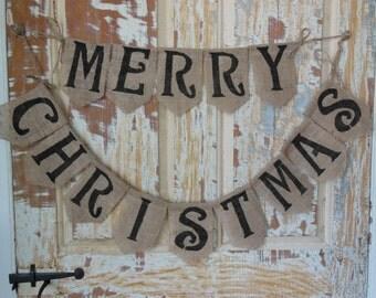 Merry Christmas banner, christmas bunting, Burlap Bunting, Holiday Bunting, Holiday Banner, Christmas Decor, Holiday Decor, Home Decor