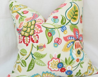 "Red, yellow, green floral indoor/outdoor decorative throw pillow cover. 18"" x 18"". 20"" x 20"". 22"" x 22"". 24"" x 24"". toss pillow."