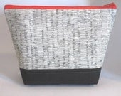 Cosmetic Bag in Line Sketch Print with Tomato Red Zip and Black Cotton