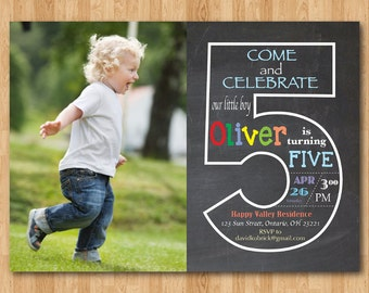 Chalkboard 5th Birthday Invitation with Picture. Fifth Birthday Invite with Photo. Baby Boy or Girl Birthday Party. Printable Digital DIY