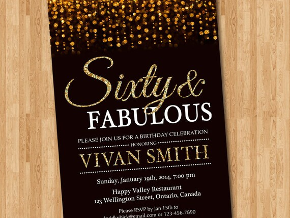60th birthday invitation women Sixty and fabulous Gold – 60th Birthday Invites