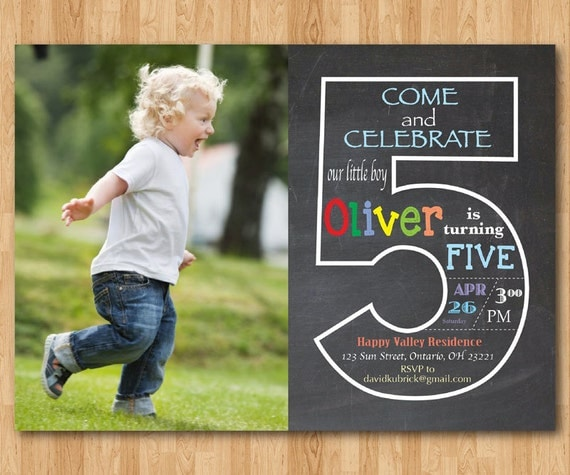 Chalkboard Th Birthday Invitation With Picture Fifth - Birthday invitation messages for 5 year old boy