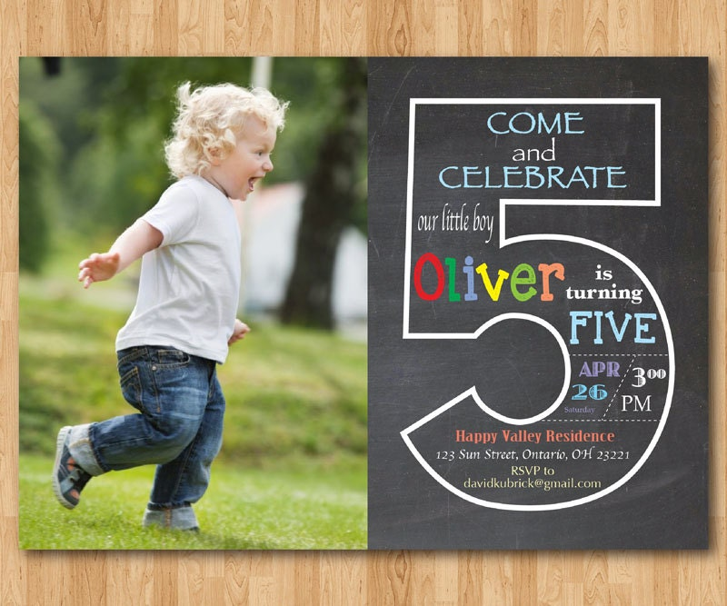 Chalkboard 5th Birthday Invitation with Picture Fifth – Toddler Girl Birthday Invitations