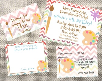 PRINTED or DIGITAL Paint/Art Party Birthday Invitations 5x7 Customized Paint Design 0.82 each