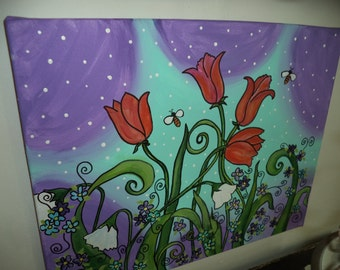 Folk art on canvas/ OOAK/ Acrylic painting/ floral/tulips/asbstract