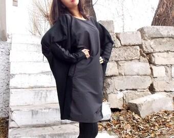 Black Loose  Tunic / Black Oversize Dress / Long Sleeved Tunic / Black Loose Dress TDK19