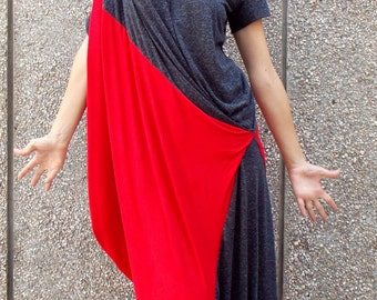Summer Dress TDK33, Color Block Dress, Plus Size Dress, Summer Maxi Dress with Short Sleeves, Summer Kaftan, Casual Dress, TEYXO Dress