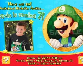 Nintendo Mario Bros Luigi Custom Photo Birthday Party Invitations