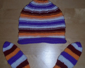 Knit Child Hat and Mittens Set - Striped Tied Top Child Hat and Mittens set - 2 years and up