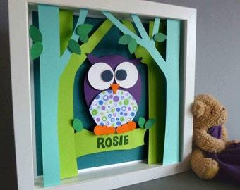 Personalised Baby Kids Children's picture - Owl 3D Framed Handmade Paper Artwork