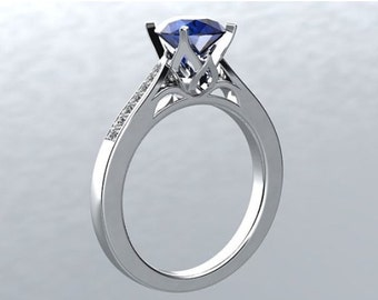 Sapphire Diamond Engagement Ring 14k White Gold 1.25ct Excellent Cut Round Sapphire &  Multi FSI1 Diamonds Engagement Ring Wedding Ring
