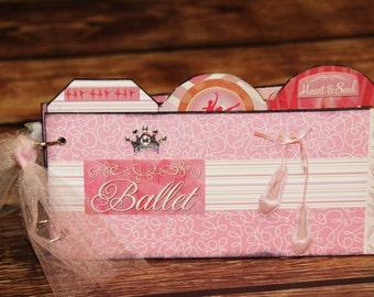 Premade ballet scrapbook album, gift for daughter or grandaughter, friends, memory book, wood pages, brag book,
