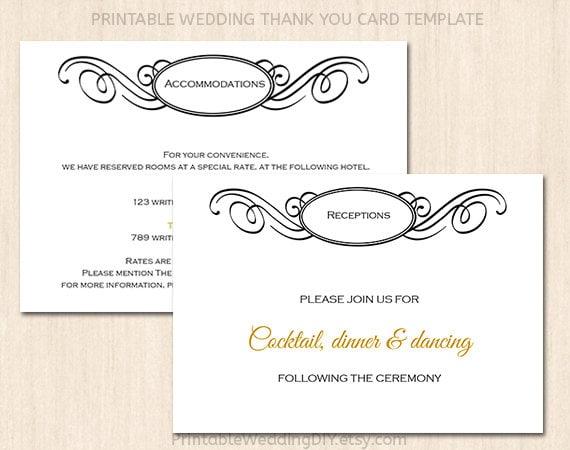 Printable Wedding enclosure card template Wedding insert