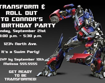 Transformers Invitation / Print Your Own / Digital File