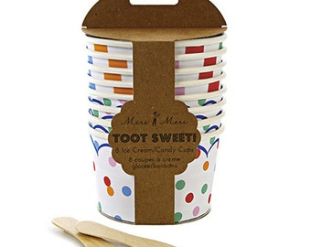 Toot Sweet Ice Cream Cups (8), Spotty Candy Cups, Meri Meri Gelato Cup, Ice Cream Bowls, Colorful Polka Dot & Stripe Ice Cream Party Dishes