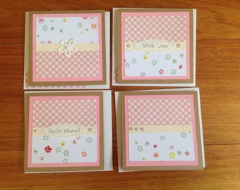 set of 4 mini cards, Kraft cardstock cards, mini cards, feminine cards,handmade cards