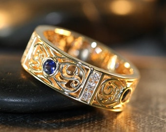 14k white gold celtic wedding band and sapphire