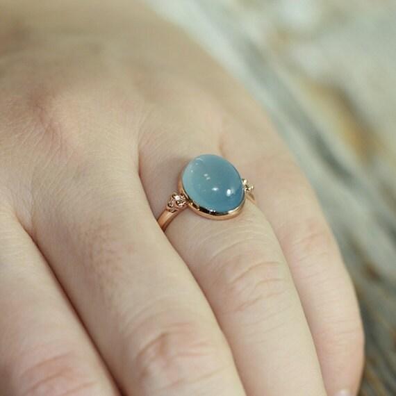 Items similar to Vintage Inspired Natural Aquamarine Ring 14k Rose
