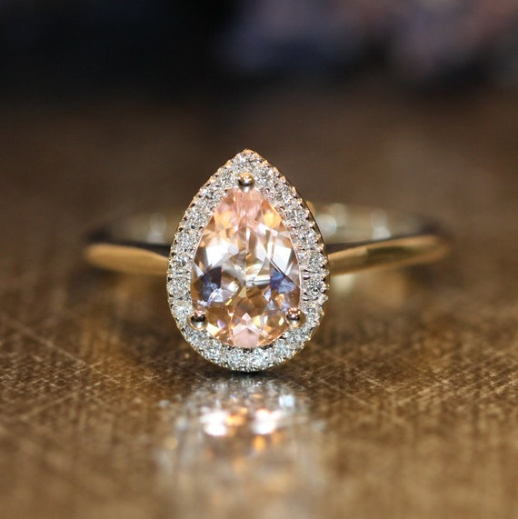 Items similar to Morganite Halo Diamond Engagement Ring in 14k White Gold 9x6mm Pear Pink ...