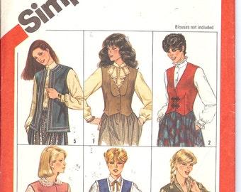 Simplicity 5709  UNCUT Misses' Set of Lined Vests   ID322