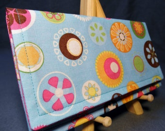 Fabric Wallet - Blue with Circle Flowers