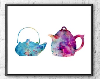 Kitchen art print, teapot print, tea set wall art, kitchen decor, tea time  - 9