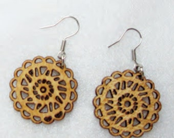 Single Layered Venner Plywood Earring With Backing