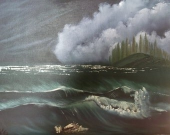 Seascape at night/ landscape/ Oil Painting/