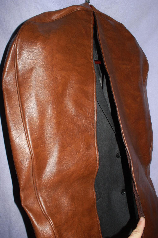 Suit Carrier Garment Bag Vintage Leather