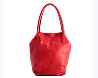 Sale!!! Red leather handbag - leather bag - leather tote - red tote - Small red Handbag Special gift for woman