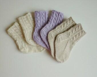 Hand knit baby socks / knit baby socks / Merino wool baby socks / newborn socks