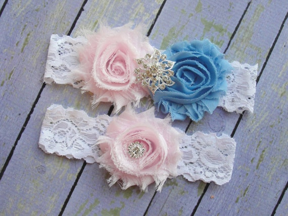 Wedding Garter Set, Pink and Blue Garters, Dusty Blue Garter, Something Blue Garter, Powder Blue Garter, Pale Pink Wedding
