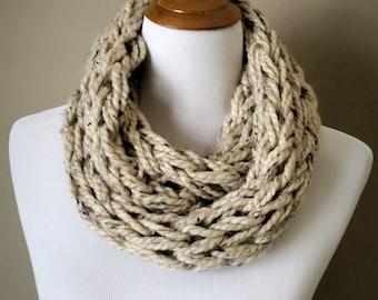 Beige Knit Infinity Scarf