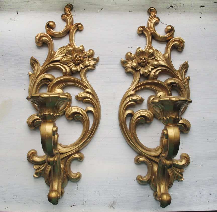Candle Wall Sconces Antique : Vintage Candle Wall Sconces by Syroco