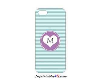 Custom Monogram-Blue case for iPhone 5/5S smartphones.