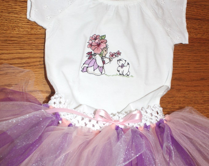 Pink and Purple Tutu with Embroidered Onesie Flower Girl with Kitten outfit. Baby girl size 12 months