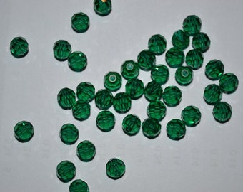 6mm Genuine Swarovski Emerald Crystal Art. 5000 Round Faceted Beads (12 pieces)